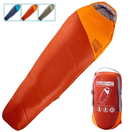 (WINNER OUTFITTERS Mummy Sleeping Bag with Compression Sack, It's Portable and Lightweight for 3-4 Season Camping, Hiking, Traveling, Backpacking and Outdoor)