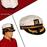 Dazzling Toys White Yacht Captain Hat Costume Accessory Pretend Play Headwear