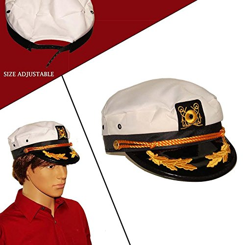 [Dazzling Toys White Yacht Captain Hat Costume Accessory Pretend Play Headwear] (Captain Morgan Costume Women)
