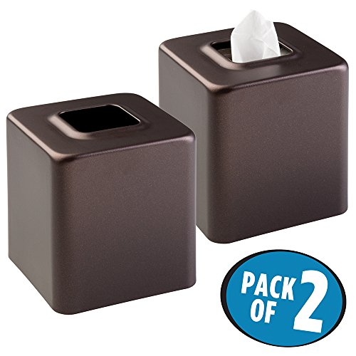 mDesign Facial Tissue Box Cover/Holder for Bathroom Vanity Countertops - Pack of 2, Bronze