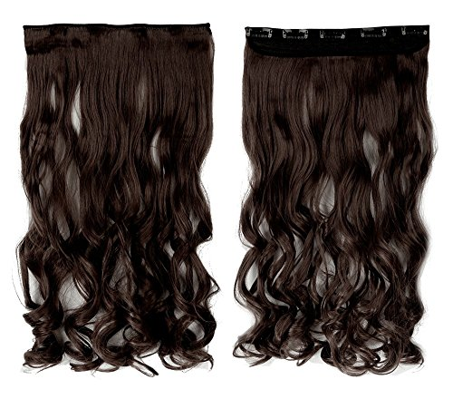 Medium Brown 17 Inches Long Curly One Piece Clip in Hair Extensions (5 Clips) Clip Ins Hairpiece for Women Lady Girl