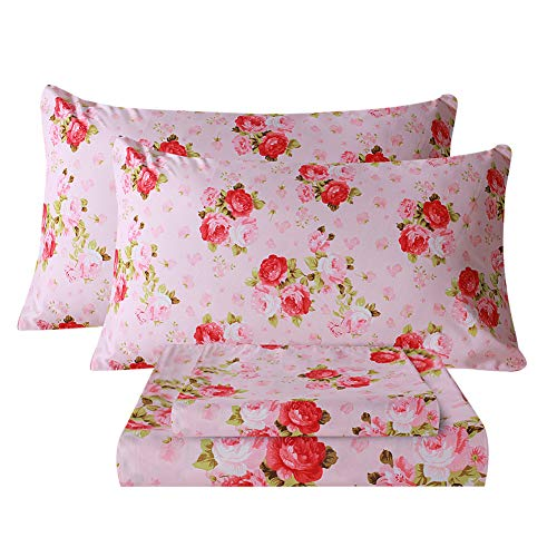 Bedlifes Twin Bed Sheets Floral Sheets Ultra Soft Rose Flower Patterned Printed Sheet Set Deep Pocket Flat Sheet& Fitted Sheet& Pillowcase 100% Microfiber 3 Piece Twin Size Pink