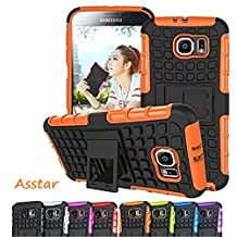 Galaxy S7 Case, Asstar [Stand Feature] Hybrid ShockProof Dual Layer Tire grain with Kickstand Protective for Samsung Galaxy S7 (Orange)