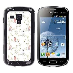 Caucho caso de Shell duro de la cubierta de accesorios de protección BY RAYDREAMMM - Samsung Galaxy S Duos S7562 - Vignette Birds Wallpaper White