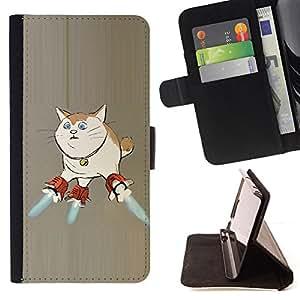 BullDog Case - FOR/Samsung ALPHA G850 / - / CAT SPACE SHIP ART SUPER POWERS FUNNY ART /- Monedero de cuero de la PU Llevar cubierta de la caja con el ID Credit Card Slots Flip funda de cuer