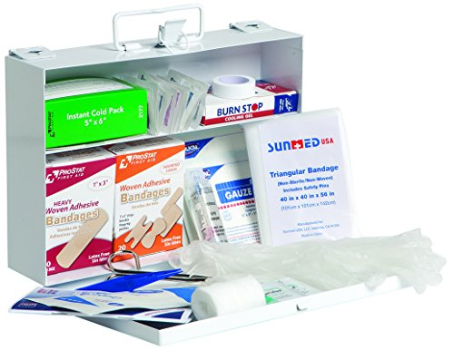 ProStat First Aid 0625 131 Piece 25 Person First Aid Kit with Steel (Aid Kit Cabinet)