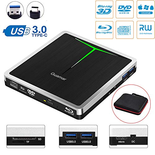 5 in 1 External Blu Ray Drive,USB 3.0/USB C Blue-Ray CD/DVD Burner/Writer for Laptop/Micbook/Windows 10/PC, SD Card/TF Card/2 USB 3.0 Transfers and Charging Supported