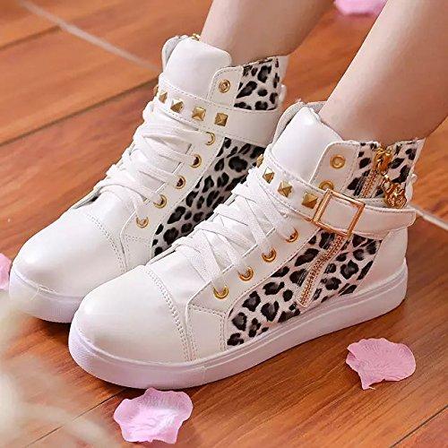NGRDX&G Zapatos De Lona Zapatos De Mujer Zipper Wedge Zapatos Zapatos Deportivos De Alto Color Sólido Ayuda Señoras Zapatos Mujer Leopard white