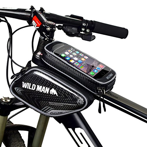 "WILDMAN Bicycle Tube Frame Pannier Waterproof Reflective Material Phone Bag for 5"" 6""Inch Screen Touch Holder"