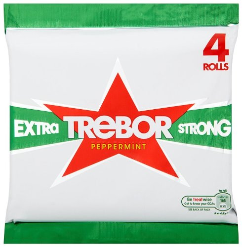 Trebor Extra Strong Roll (Pack of 6, Total 24 - Strong Roll Mints Extra