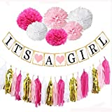 Baby : Baby Shower Decorations, Easy, Fun and Cute Display, It's a Girl Banner, pink and white pompoms, Tassels, Free Goodie Bags. Good for Indoors and Out.