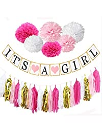 Baby Shower Decorations, Easy, Fun and Cute Display, It's a Girl Banner, pink and white pompoms, Tassels, Free Goodie Bags. Good for Indoors and Out. BOBEBE Online Baby Store From New York to Miami and Los Angeles