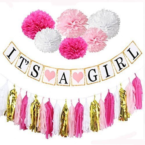 Baby Shower Decorations, Easy, Fun and Cute Display, It's a Girl Banner, pink and white pompoms, Tassels, Free Goodie Bags. Good for Indoors and Out.
