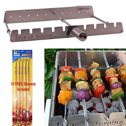 Keep on Turning 9 Skewer Automatic Rotating Rotisserie Grill Rack with Adjustable RPM Motor for Gas Grills Accessory Attachment Kabob Kebab Shish Stainless Steel incl. 10 Free Skewers