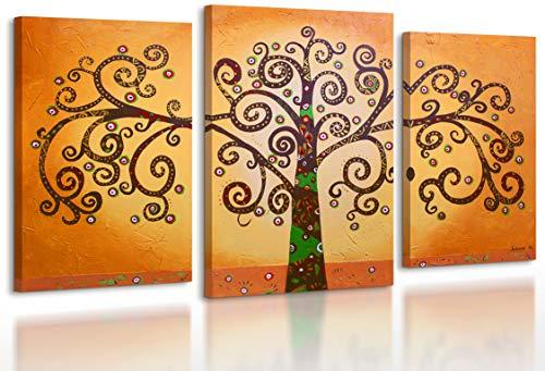 YS-Art | Cuadro Pintado a Mano Arbol de la Vida 2 | Cuadro Moderno acrilico | 130x80 cm | Lienzo Pintado a Mano | Cuadros Dormitories | unico | 3-Partes