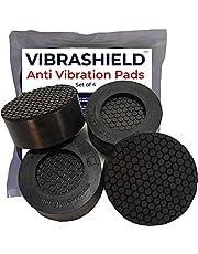 Anti Vibration Pads for Washing Machine w/ HexaGrip - Stops Washer Dryer Noise Moving Shaking Walking Skidding - Appliance Anti Vibration Washing Machine Support Feet Stabilizer Mat - VIBRASHIELD 4 PK