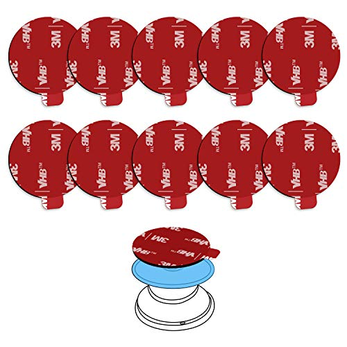 10 Pack 3M VHB Strong Sticky Adhesive Replacement Kit Parts for Socket Mount,Colorwe 1.38 Inch Circle Double Sided Tape for Phone Case and Collapsible Grips Socket Base,6pcs Alcohol Prep Pads