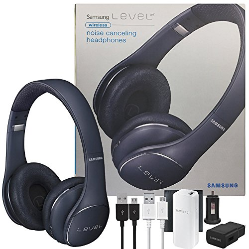 Samsung Universal Level On Wireless Noise Canceling NFC & Microphone Headphones - W/2100 Battery Pack Wall & Car Charger (US Model -Certified Refurbished Kit)