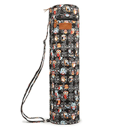 ELENTURE Full-Zip Exercise Yoga Mat Carry Bag with Multi-Functional Storage Pockets (Black Owl)