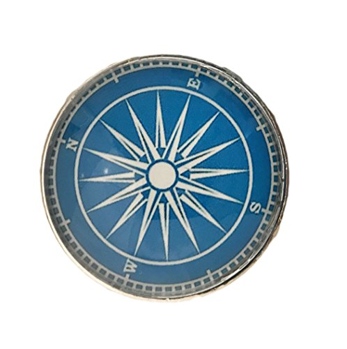 Nautical Boat Compass Glass Knob for Dresser Drawers, Cabinet Drawers, Kitchen Cabinets - Pack of 12 Knobs