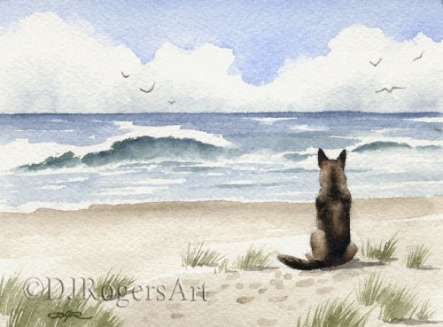 (German Shepherd at the Beach Art Print by Watercolor Artist DJ Rogers)