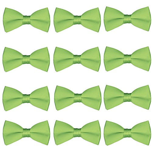 Men's Bow Tie Wholesale 12 Pack Pre-Tied Formal Tuxedo Bowties Wedding Solid Ties (Lime Green)