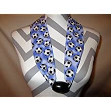 Soccer Scarf by Ladies Fashion Collars Unique No Tie Design with Wood Bead One Size Fits All Soccer Balls on Periwinkle Blue Background