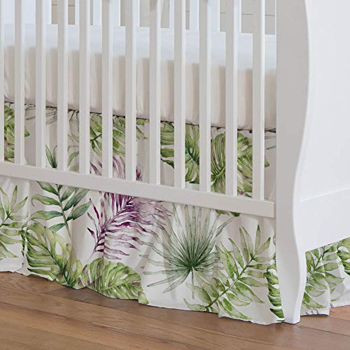 Carousel Designs Purple Painted Tropical Crib Skirt 17-Inch Gathered 17-Inch Length - Organic 100% Cotton Crib Skirt - Made in The USA ()