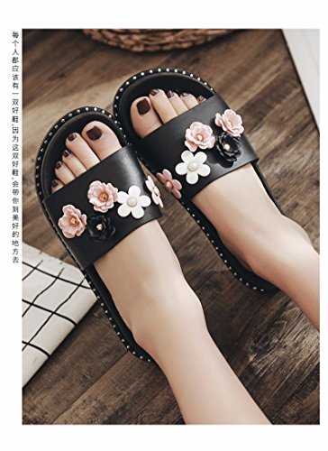 de 3 5 son nuevas XZZ Corbata moda Las zapatillas mujer de rosa UK verano LiUXINDA negro para AOqxTw8FRw