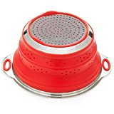 Oberhaus Premium Collapsible Silicone Colander/Strainer with Stainless Steel Base (Available Colors: Red, Blue and Green) (Red)