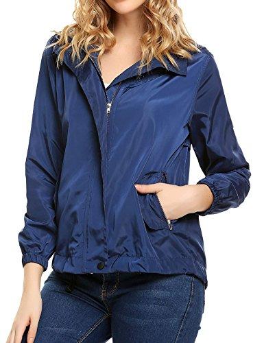 Blue Womens Windbreaker (Soteer Women's Waterproof Raincoat Lightweight Hooded Outdoor Windbreaker Jacket(Navy Blue M))
