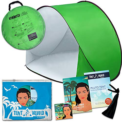 Pluto Green Park Tent: A Shelter for Children to Play and Rest While Away From the Sun, Wind and Rain. PopUp Shader for Outdoor Activities at the Beach & Park. Includes a Fun Coloring Book and a Bonus