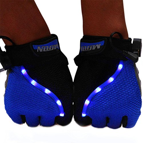 GVDVªSports Bicycle Bike Cycling Motorcycle Gloves With LED Light Half Finger Gloves Fingerless LED Light Gloves