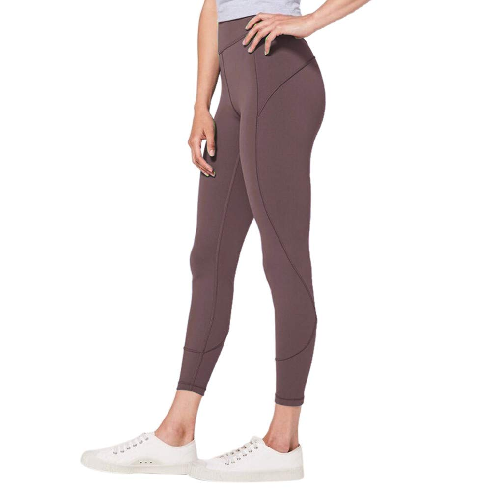 Makeupstory Womens Capri Leggings, Short Sleeve Workout Shirts for Women,Women's High Waist Solid Yoga Pants Workout Running Sports Leggings Pants Coffee by Makeupstory (Image #1)