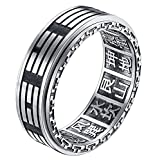ALEXTINA Men's 8MM Stainless Steel Yin Yang Spinner Ring Ba Gua Feng Shui Eight Trigrams Signet Band Size 8