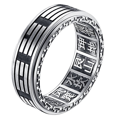 ALEXTINA Men's 8MM Stainless Steel Yin Yang Spinner Ring Ba Gua Feng Shui Eight Trigrams Signet Band Size 10