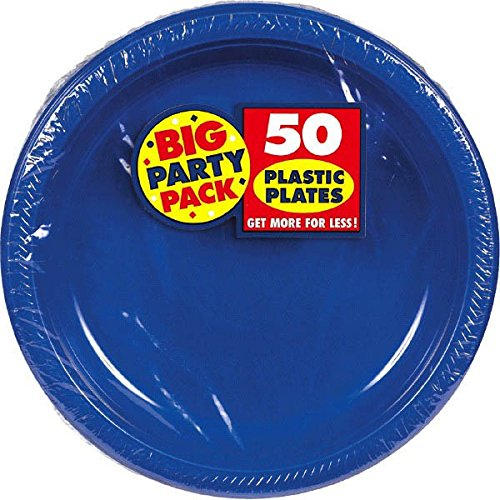 Amscan Big Party Pack 50 Count Plastic Dessert Plates, 7-Inch, (7 Dessert)