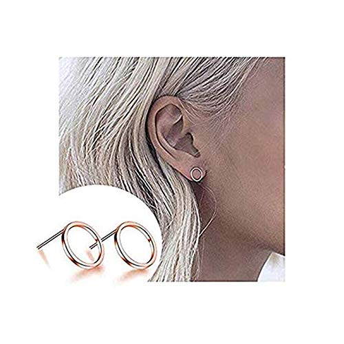 CHUYUN Pretty Bijoux Tiny Round Stud Earrings Simple Geometric Circle Earrings for Women Girls (Rose gold) ()