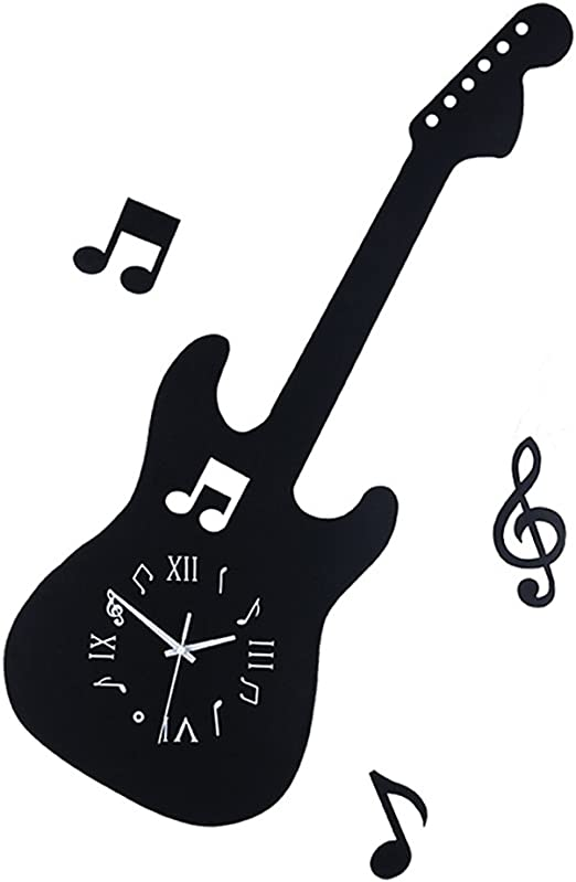 Dongy Reloj de Pared Antiguo Guitarra Negra Relojes de Cuarzo ...