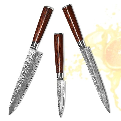XYJ VG10 Damascus Steel Kitchen Knives Set 3.5'' Fruit 8'' Slicing Chef Knife Accessories by XYJ (Image #4)
