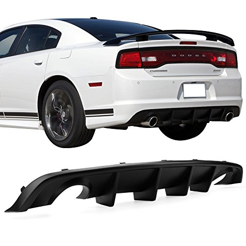 Rear Bumper Diffuser Fits 2012-2014 Dodge Charger SRT | V2 Style PP Splitter Spoiler Valance Chin Diffuser Body kit by IKON MOTORSPORTS | 2013