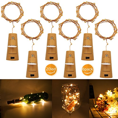 brideal Wine Bottle Light 20 Led Warm White Wine Bottle Cork Light for Christmas DIY Party Wedding Birthday Home Decor Pack of 6]()