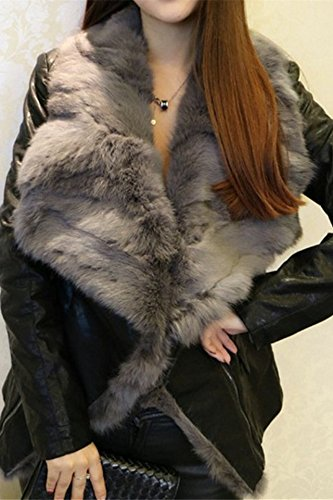 Generic large _real_ rabbit fur collar _sheepskin_genuine_ leather Women girl new winter coat Women girl rabbit fur collar Slim leather jacket