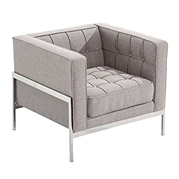 Armen Living LCAN1GR Andre Side Chair In Grey Tweed And Brushed Stainless  Steel Finish