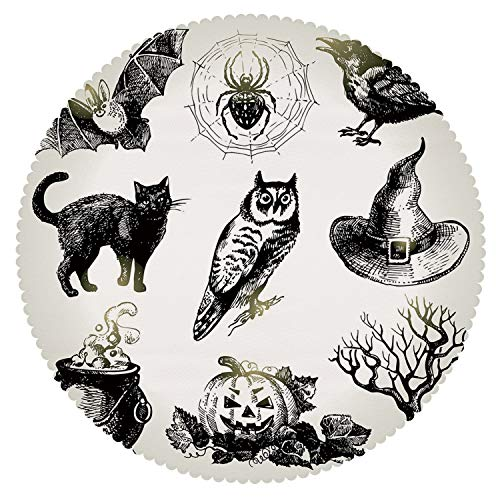iPrint Round Tablecloth [ Vintage Halloween,Halloween Related Pictures Drawn by Hand Raven Owl Spider Black Cat Decorative,Black White ] Home Accessories Set -