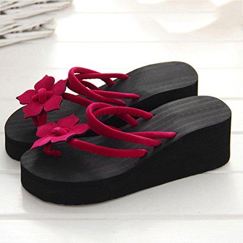 Femmes Pantoufles D'été Hauts Fleur Forme LuckyGirls Printemps Rouge De Cales Talons Antidérapante De Les Chaussures Loisirs Plate qvt0txXw5