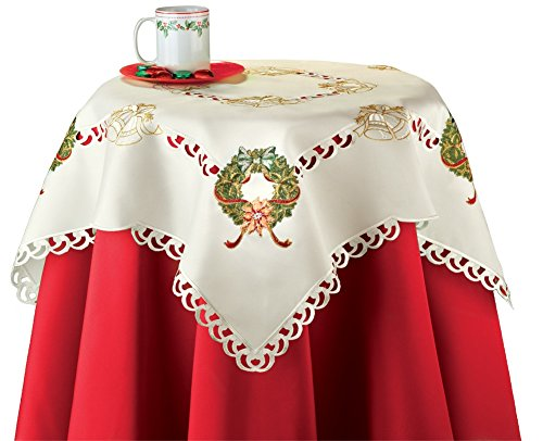 UPC 842022153896, Embroidered Holiday Wreath Table Linens, Square