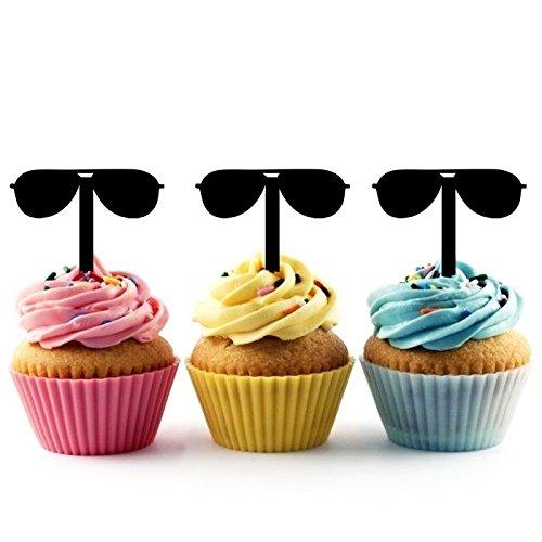 TA0258 Sunglasses Silhouette Party Wedding Birthday Acrylic Cupcake Toppers Decor 10 -