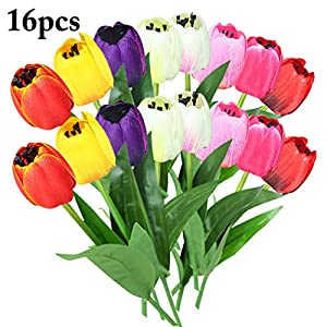 B bangcool 16 Branches Artificial Flower Decorative Simulated Tulip Fake Flower for Easter Decor 73