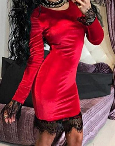 Patchwork Dresses Long Women Comfy Sleeve Lace Velour Fitted Red Solid 6pCqqwBx